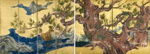 国宝 檜図屛風 狩野永徳筆 安土桃山時代・天正18年(1590)東京国立博物館蔵