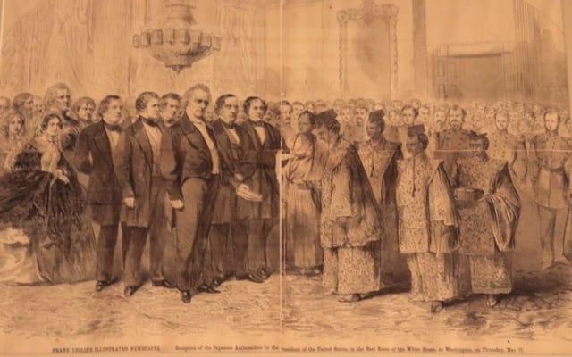 幕府遣米使節とブキャナン大統領らとの会談の様子を大きく報じる米紙(東善寺蔵)