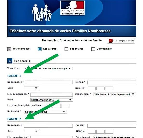 PARENT 1、PARENT 2の表記がある、フランス国鉄SNCFの家族割引申込フォーム