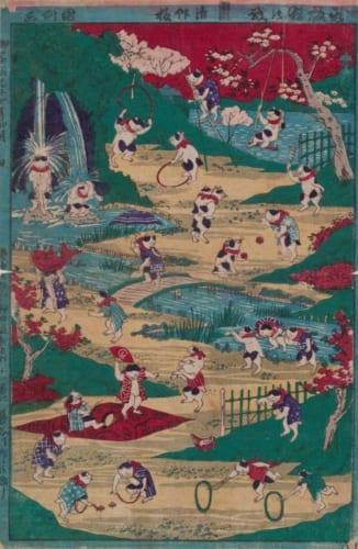 歌川国利「新板猫の戯」個人蔵
