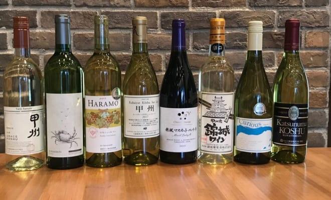 試飲会に出た甲州ワイン。生産者の考えにより、さまざまな味わいのバリエーションがある。