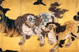 唐獅子図屛風 狩野永徳筆 六曲一双のうち右隻 安土桃山時代・16世紀 宮内庁三の丸尚蔵館蔵