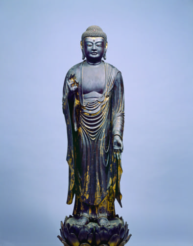 重要文化財 《阿弥陀如来立像》 鎌倉時代、滋賀・阿弥陀寺蔵、通期、写真:大津市歴史博物館