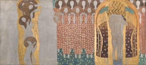 グスタフ・クリムト《ベートーヴェン・フリーズ》(部分)1984年(原寸大複製/オリジナルは1901-1902年) ウィーン、ベルヴェデーレ宮オーストリア絵画館  (C)Belvedere,Vienna