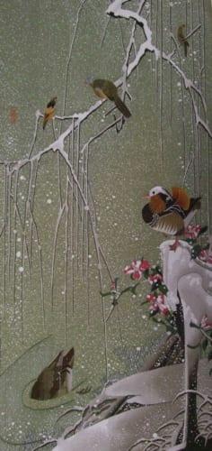 伊藤若冲の「雪中鴛鴦図」を綴織で表現した作品。平野さんの豊かな感性が伝わってきます。