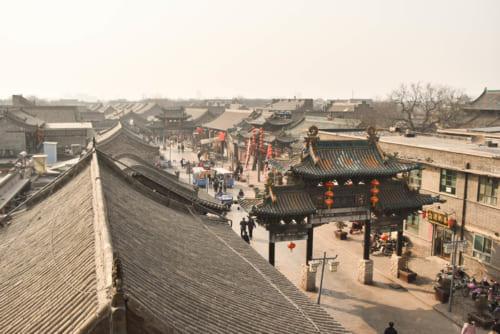 城隍廟向かいの文廟から望む平遥古城の町並み