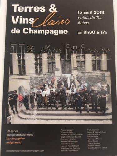 「テール・エ・ヴァン・ド・シャンパーニュ」の試飲会のポスター。小さな農家制生産者たちの先駆的なグループとして名高い。