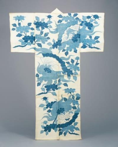 《白麻地石橋模様浴衣》江戸時代 18世紀後半 東京都江戸東京博物館[前期展示]