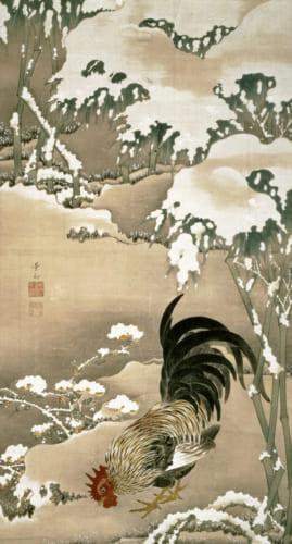 《雪中雄鶏図》江戸中期