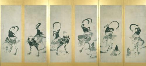 《鶏図押絵貼屏風》寛政9年(1797)