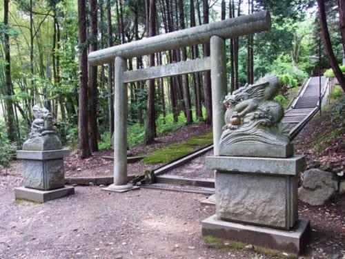 「眞名井神社」の入り口には狛犬ではなく「狛龍」が鎮座しています。