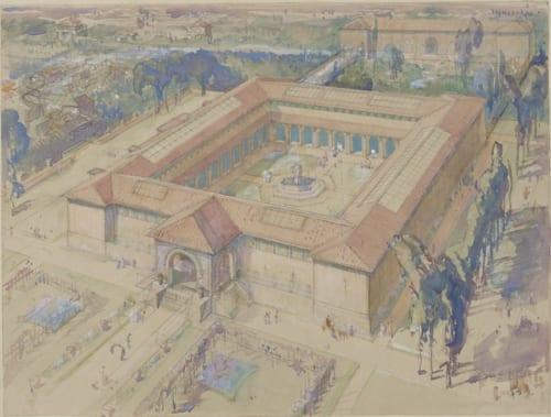 フランク・ブラングィン《共楽美術館構想俯瞰図、東京》 水彩・鉛筆、紙 国立西洋美術館 松方にコレクションに関するアドバイスをしていた、画家・ブラングィンによる共楽美術館のデザイン。