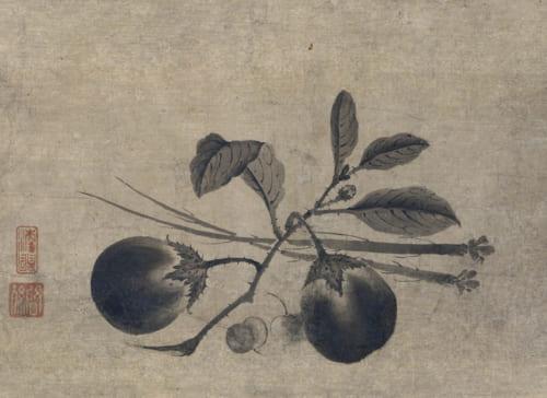 蔬菜図 啓孫筆 1幅  日本・室町時代 16世紀 根津美術館蔵