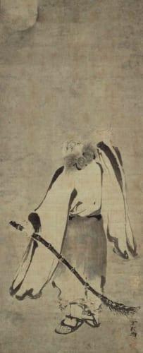 寒山拾得図 雪村周継筆 2幅 日本・室町時代 16世紀 栃木県立博物館蔵