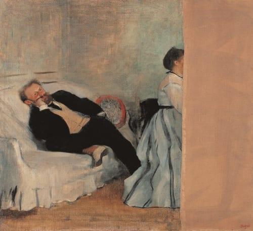 エドガー・ドガ《マネとマネ夫人像》1868−69年頃 油彩、カンヴァス 北九州市立美術館 マネが妻の肖像の部分を気に入らず、画布を切断したという逸話がある。