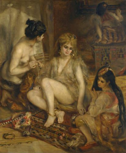 ピエール=オーギュスト・ルノワール《アルジェリア風のパリの女たち(ハーレム)》1872年 油彩、カンヴァス 国立西洋美術館(松方コレクション) 重要作品であるため、戦後、フランスに留め置かれそうになったが、日本の粘り強い交渉で返還された。