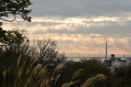 明石城から望む早朝の明石海峡。付近には高山右近が築いた船上城跡が残る