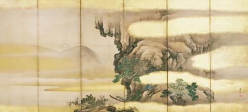 赤壁図屏風(びょうぶ)(右隻) 谷文晁筆 6曲1双 日本・江戸時代 19世紀 根津美術館蔵