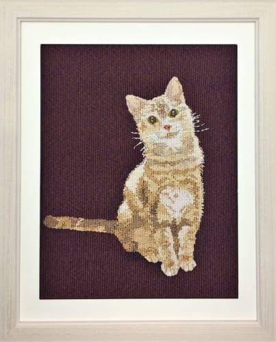 犬や猫のお気に入りの写真を原画として製織もしています。写真や絵画とは趣の異なる、オーダーメイド品をお願いすることもできますよ。