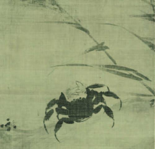 蟹図(部分) 伝牧谿筆 1幅 中国・元~明時代 14世紀 根津美術館蔵