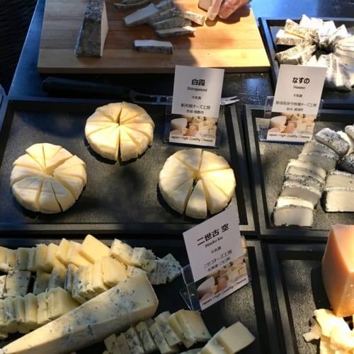 チーズプロフェッショナル協会の協賛で供された日本産チーズ。