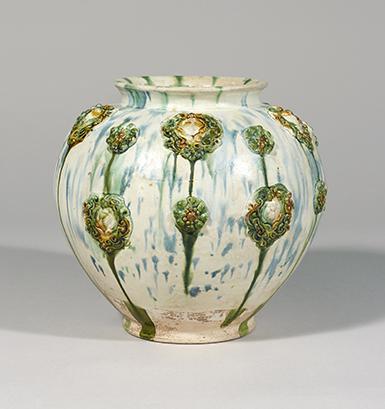三彩貼花文壺(万年壺)中国 唐時代 出光美術館蔵