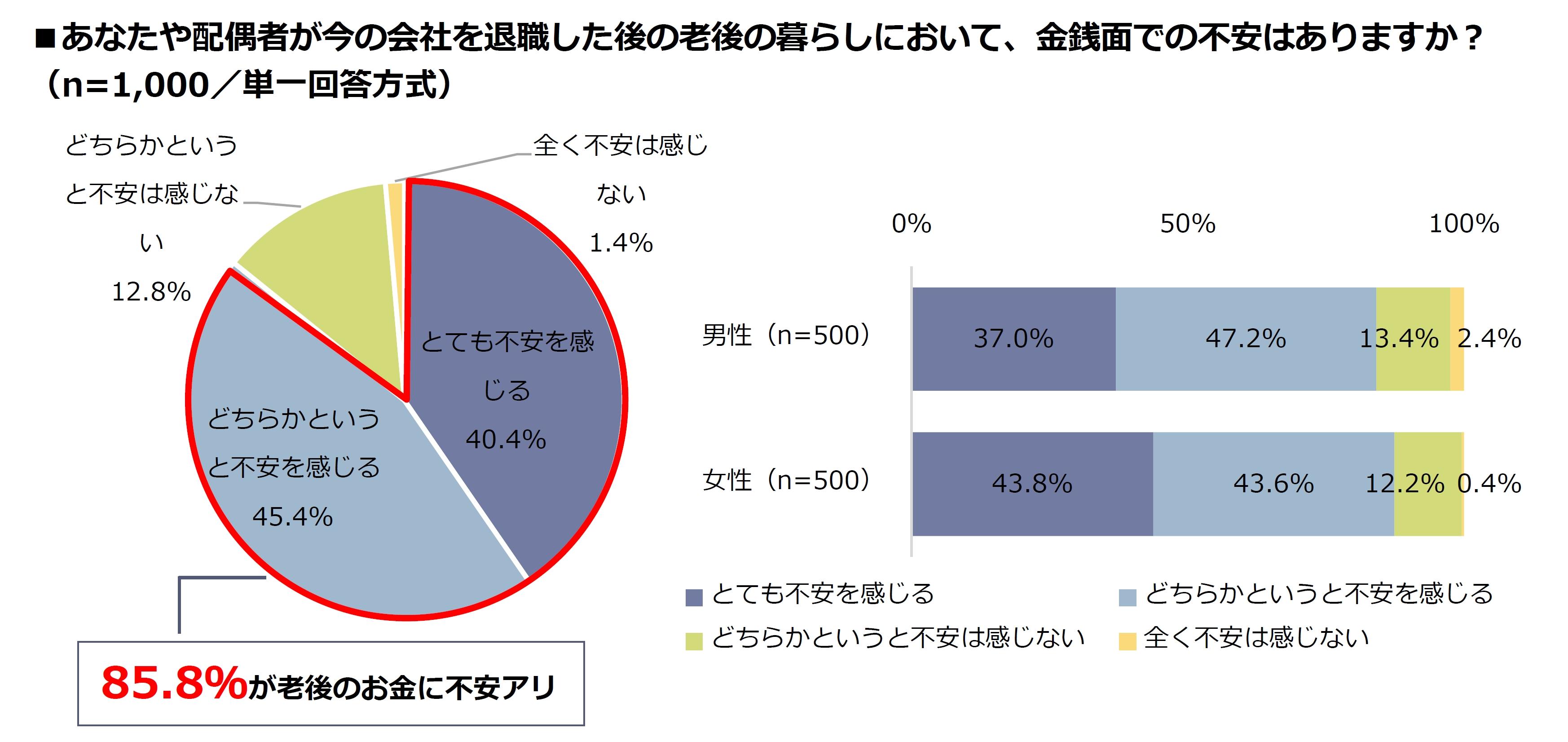 85.8%が、老後の暮らしに金銭面で不安ありと回答