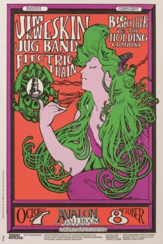 スタンレー・マウス&オールトン・ケリー《ジム・クウェスキン・ジャグ・バンドコンサート(1966年10月7-8日、アヴァロン・ボールルーム)》1966年頃 オフセット・リトグラフ Artwork by Stanley Mouse and Alton Kelly. (C)1966,1984,1994.Rhino Entertainment Company. Used with permission.All rights reserved.www.familydog.com