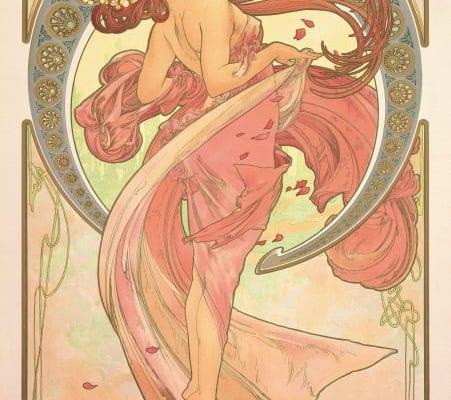 アルフォンス・ミュシャ《舞踏―連作〈四芸術〉より》1898年 カラーリトグラフ ミュシャ財団蔵 (C)Mucha Trust 2019