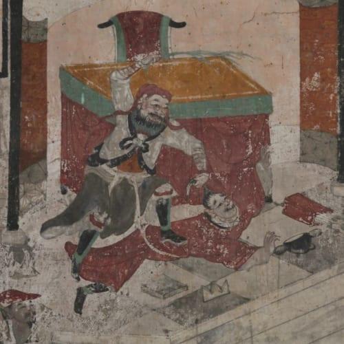 関帝廟壁画(かんていびょうへきが)「張飛、督郵を鞭打つ(ちょうひ、とくゆうをむちうつ)」 土製、彩色 清時代・18世紀 内モンゴル自治区フフホト市清水河県水門塔伏龍寺伝来 内蒙古博物院蔵