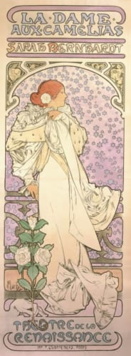 アルフォンス・ミュシャ《椿姫》1896年 カラーリトグラフ ミュシャ財団蔵 (C)Mucha Trust 2019