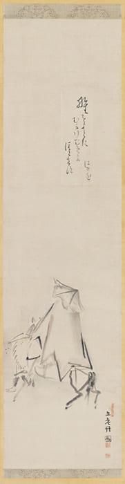 発句画賛「野をよこに」書・松尾芭蕉/画・森川許六 江戸時代 出光美術館蔵