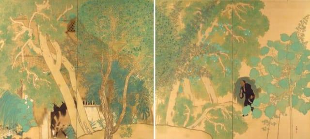 横山大観《作右衛門の家》1916(大正5)年 絹本裏箔・彩色 山種美術館蔵
