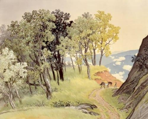 川合玉堂《山雨一過》1943(昭和18)年 絹本・彩色 山種美術館蔵