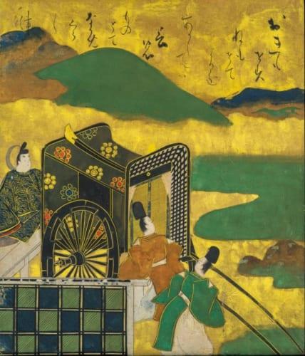 俵屋宗達「益田家本 伊勢物語図色紙 第二段『西の京』」軸装 紙本着色金泥 17世紀