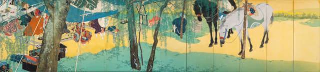木島櫻谷「駅路之春」屏風 六曲1双金銀泥 絹本着色 1913年