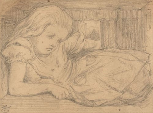 """ジョン・テニエル『不思議の国のアリス』挿絵のための下絵《いったい、わたしはこれからどうなってしまうの》1864-1865年 鉛筆/紙 John Tenniel,""""What will become of me."""", The Rosenbach,Philadelphia"""