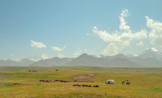 パミールの雄大な草原のユルタと家畜の群れ