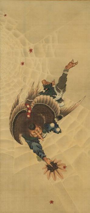 葛飾北斎「大天狗図」軸装 絹本着色 1839年