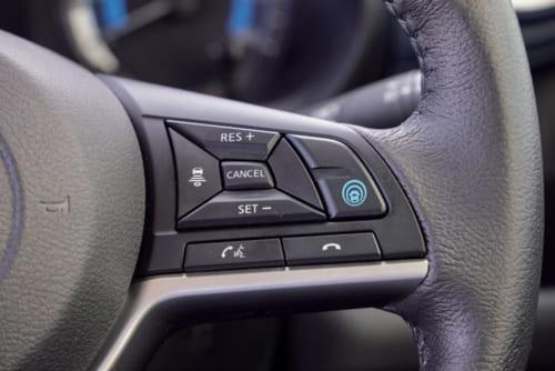 クルーズコントロール(一定速度維持装置)や車線維持支援機能はオプション。ハンドル右側のこのスイッチを操作して作動させる。