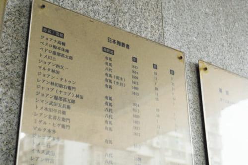 納骨堂入口に掲示された日本殉教者。武士とその家族が多く、女性や子供も含まれる。