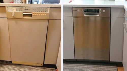 30年間愛用の前機種(左)と今年5月に入れ替えた最新モデル『SPI66MS006』。27万円(ドア面材、工事費別)。「洗浄力の高さに加え、乾燥力も素晴らしい。カトラリートレイは便利ですよ」と性能に太鼓判。