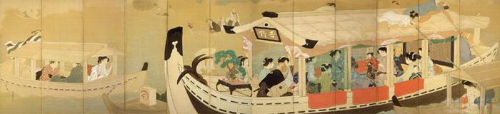 鏑木清方《墨田河舟遊》1914(大正3)年 絹本彩色・屛風 六曲一双 東京国立近代美術館蔵 (C)Nemoto Akio