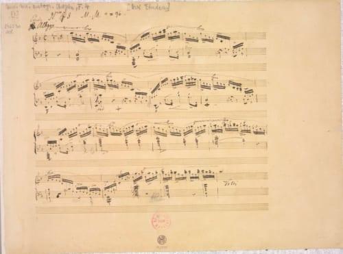 フリデリク・ショパン《「エチュード ヘ長調 作品10の8 」自筆譜(製版用)》1833年以前 インク、紙 Photo:The Fryderyk chopin Institute