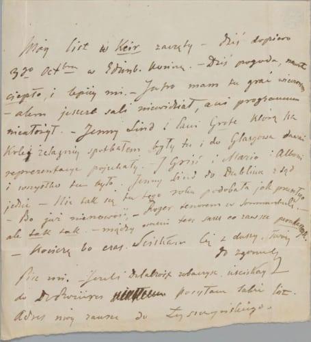 フリデリク・ショパン《自筆の手紙-パリのヴォイチェフ・グジマワ宛て(エディンバラ、1848年10月3日)》1948年 インク、紙 Photo:The Fryderyk chopin Institute