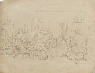 松岡壽《工部美術学校画学教場》1877-78年頃 個人蔵