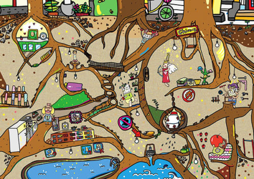 赤毛族が地下で暮らしている様子。木の根っこの合間で皆それぞれに楽しく過ごしている/illustration by U&S studio