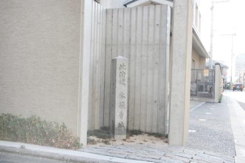 旧本能寺跡(京都市)。今は石碑が立つのみ。