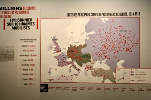捕虜収容所地図。赤丸は捕虜収容所があった場所を示している