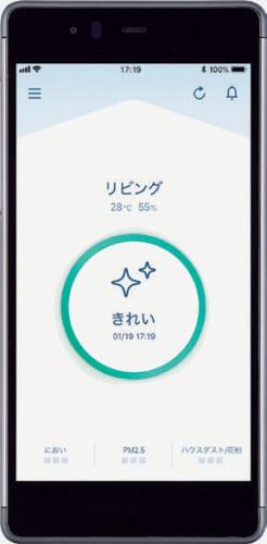 スマートフォン用のアプリを使えば、「花粉/ハウスダスト」「ニオイ」「PM2.5」の種別で部屋の空気の状態が一目で分かる。